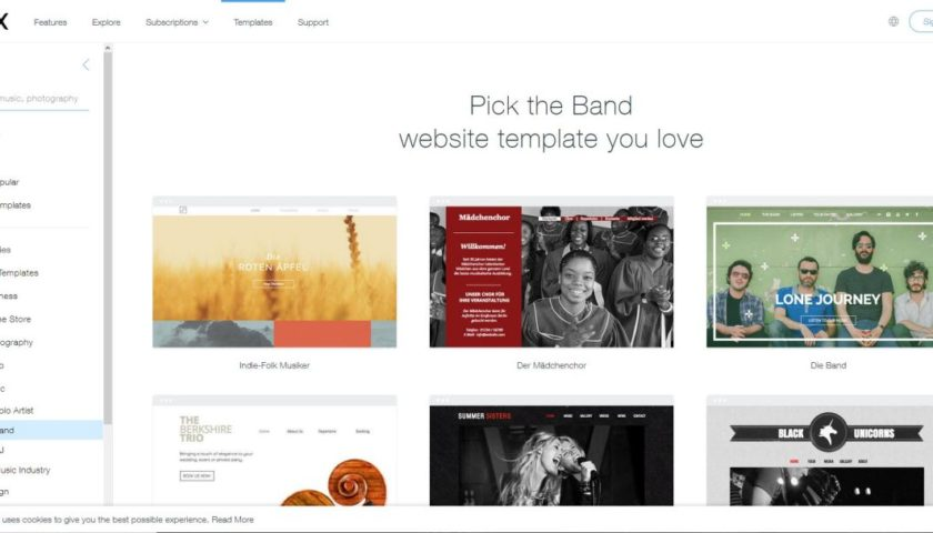 Wix Music Homepage Templates